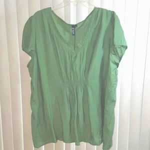 Milano Boho Peasant Top Slip Over Plus Sz 2X Green